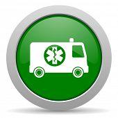 image of ambulance  - ambulance green glossy web icon - JPG