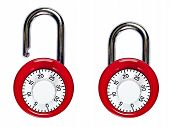 pic of combinations  - A pair of red combination padlocks - JPG