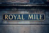 picture of mile  - Royal Mile road sign in Edinburgh - JPG