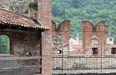 picture of manor  - ancient castle walls with big battlements for defense of the medieval Manor - JPG