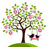 picture of worm  - vector flowering tree with swing and mother bird bringing worm isolated on white background - JPG