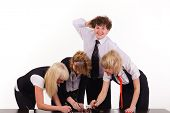 picture of unawares  - business team and dull man working together at office - JPG