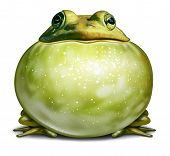 foto of throat  - Healthy environment symbol as a green frog with an inflated throat as an ecological concept of communication with copy space for advertising a conservation message - JPG