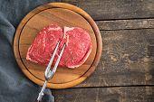 stock photo of rib eye steak  - Fresh uncooked rib - JPG