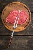 picture of rib eye steak  - Fresh uncooked rib - JPG
