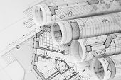 foto of blueprints  - rolls of architecture blueprints  - JPG
