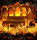 picture of flame  - Fantastic hell entrance with stairs and portal columns in flames and smoke - JPG