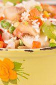 pic of saucepan  - Frozen vegetables in an old enamel saucepan before cooking - JPG