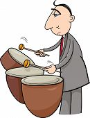 picture of timpani  - Cartoon Illustration of Musician Playing the Timpani Drums Percussion Instrument - JPG