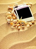 stock photo of beach shell art  - Summer like old style empty photo cards lying on a sea sand and framed with shells. Sunny summer background. Space for your text.  - JPG