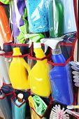 foto of household  - Household chemicals in holder - JPG