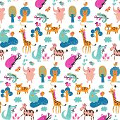 image of cute tiger  - Stunning seamless pattern with wild animals from Africa - JPG