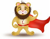 pic of cloak  - Cartoon illustration of strong lion with red cloak - JPG