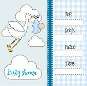 picture of stork  - blue baby shower card with stork with baby - JPG