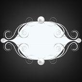 stock photo of swirly  - Black background with silver jewelry swirly frame - JPG