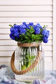 picture of blue-bell  - Blue bell flowers in glass vase on wooden background - JPG
