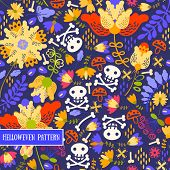 foto of voodoo  - Seamless pattern voodoo cartoon with different skull and flowers  - JPG