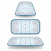 stock photo of hockey arena  - Set of ice hockey fields with different perspectives - JPG