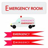 picture of emergency treatment  - Medical Concept Illustration of Ambulance with Emergency Label Isolated on White Background - JPG