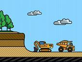 picture of dump  - Excavator load the dump truck - JPG