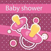 image of teething baby  - baby shower card background - JPG
