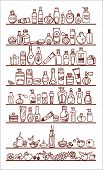 stock photo of cosmetic products  - doodle drawn by hand cosmetic products on shelves - JPG