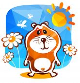 image of hamster  - Cute hamster and flowers on a blue background - JPG