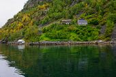 image of fjord  - Scenic View of the Geiranger fjord Norway - JPG