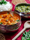 picture of paneer  - Photo of an Indian meal of Butter Chicken rice and Saag Paneer - JPG