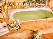 picture of bubble-bath  - Home bathroom interior with bubble bath - JPG