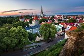 foto of olaf  - Aerial View of Tallinn Old Town from Toompea Hill in the Evening Tallinn Estonia - JPG