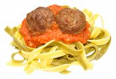 picture of meatball  - Meatballs and tagliatella pasta with tomato sauce isolated on a white background - JPG