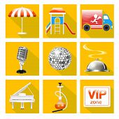 foto of karaoke  - illustration of set of icons for the service of the restaurant is a Grand piano dance floor karaoke - JPG