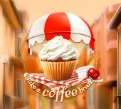 picture of cafe  - Cupcake and cherry - JPG