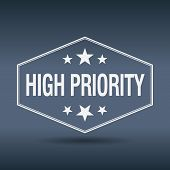 picture of priorities  - high priority hexagonal white vintage retro style label - JPG