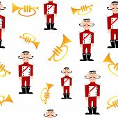 picture of trumpets  - Vector illustrated seamless pattern of trumpet and soldier - JPG