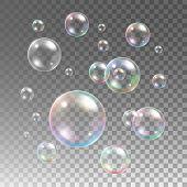 Transparent multicolored soap bubbles vector set on plaid background poster