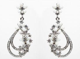 stock photo of lapis lazuli  - earrings with Briliant on the white background - JPG