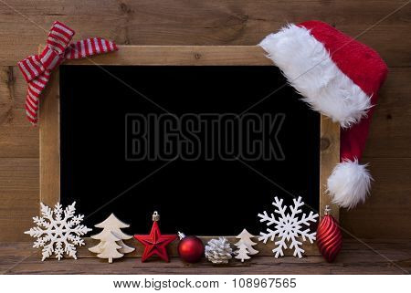 Christmas Blackboard, Santa Hat, Red Loop, Copy Space