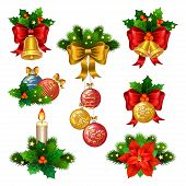 ������, ������: Christmas Festive Ornaments Icons Set Decoration From Christmas Tree Branches Christmas Star