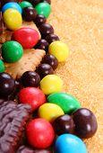 Постер, плакат: A Lot Of Sweets And Cane Brown Sugar Unhealthy Food