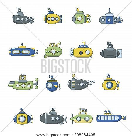 Submarine icons set