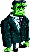 stock photo of frankenstein  - Cartoon Frankenstein boss in a suit and tie - JPG