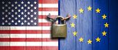 Usa And European Union Flags On Wooden Door With Padlock. 3D Illustration poster
