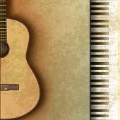 Abstract Grunge Background With Guitar And Piano