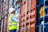 Foreman Control Industrial Container Cargo Freight Ship. poster