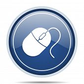 Mouse blue round web icon. Circle isolated internet button for webdesign and smartphone applications poster