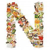 Постер, плакат: Письмо N с продовольственной коллаж концепт арт