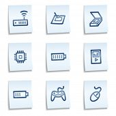 Electronics web icons set 2,  blue notes