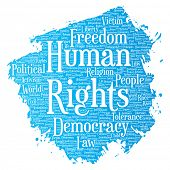 Conceptual human rights political freedom, democracy paint brush word cloud isolated background. Col poster